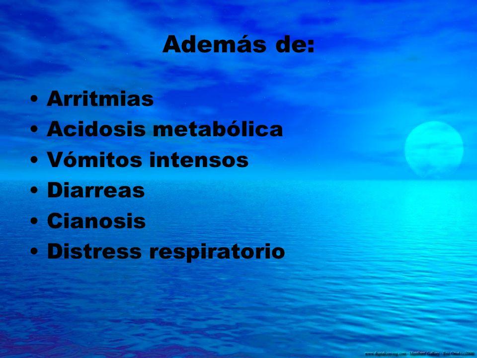 Además de: Arritmias Acidosis metabólica Vómitos intensos Diarreas