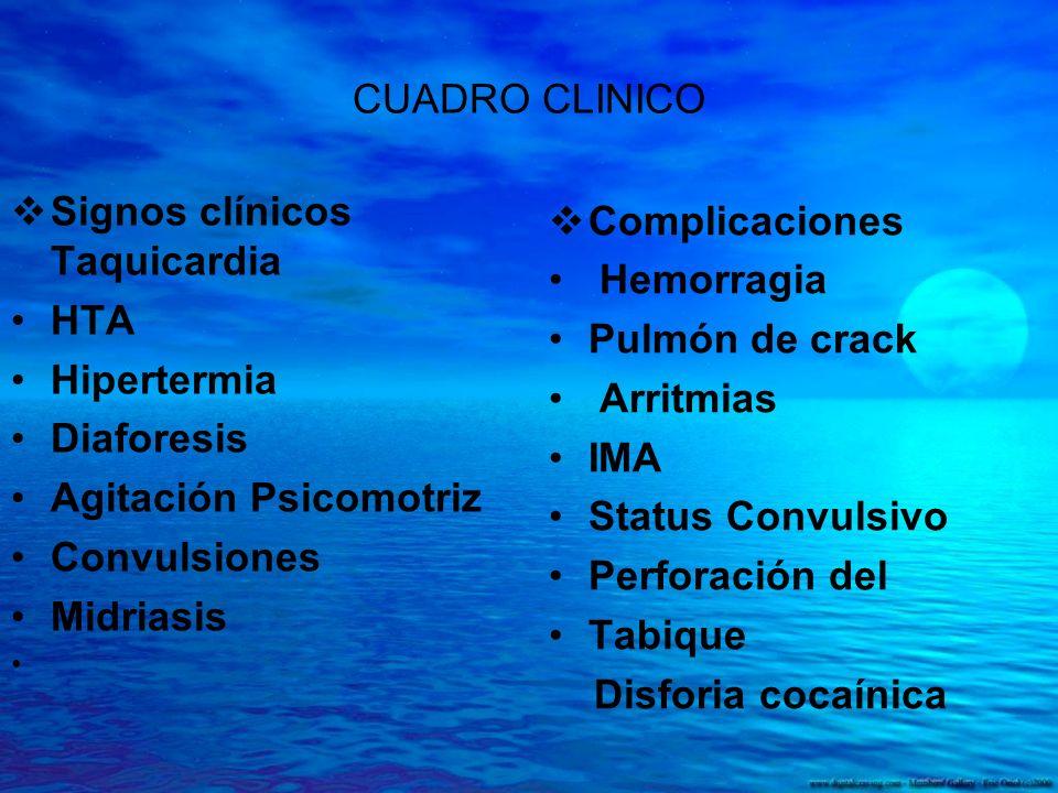 CUADRO CLINICO Complicaciones. Hemorragia. Pulmón de crack. Arritmias. IMA. Status Convulsivo.