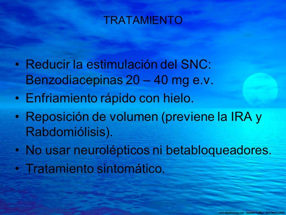 Reducir la estimulación del SNC: Benzodiacepinas 20 – 40 mg e.v.