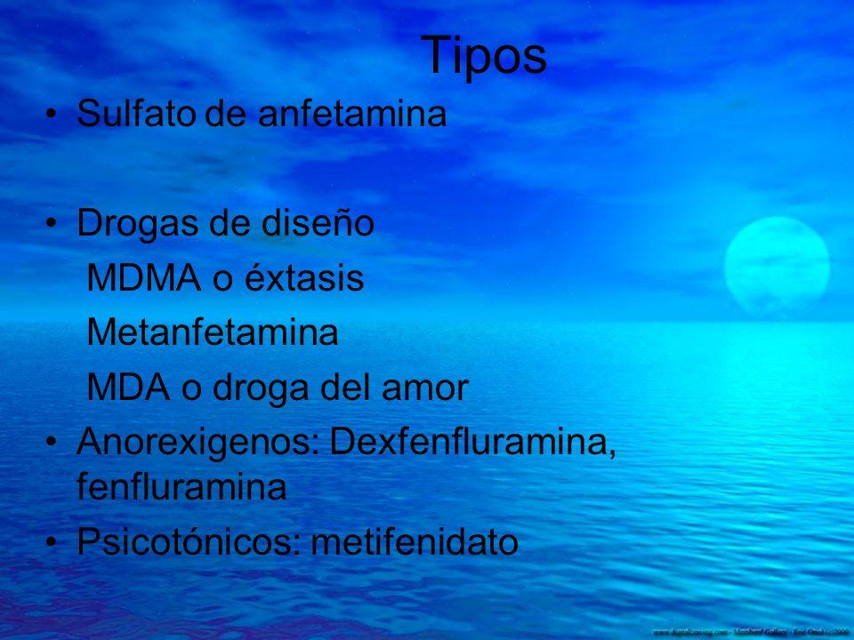 Tipos Sulfato de anfetamina Drogas de diseño MDMA o éxtasis
