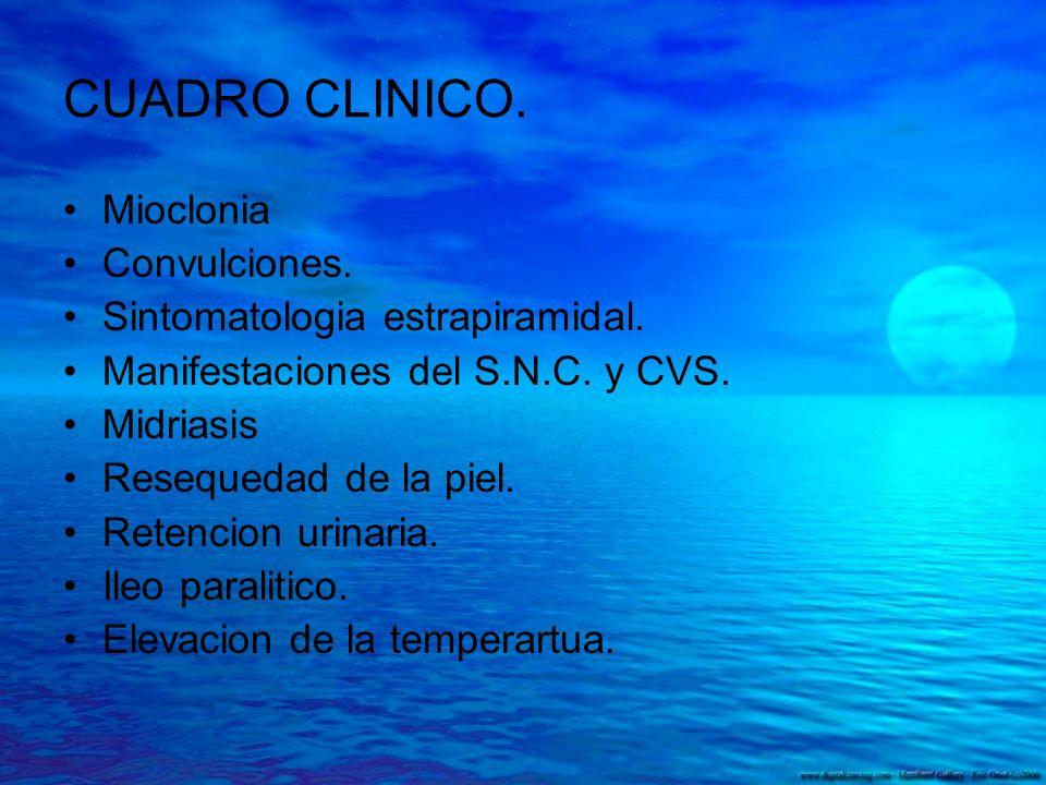 CUADRO CLINICO. Mioclonia Convulciones. Sintomatologia estrapiramidal.