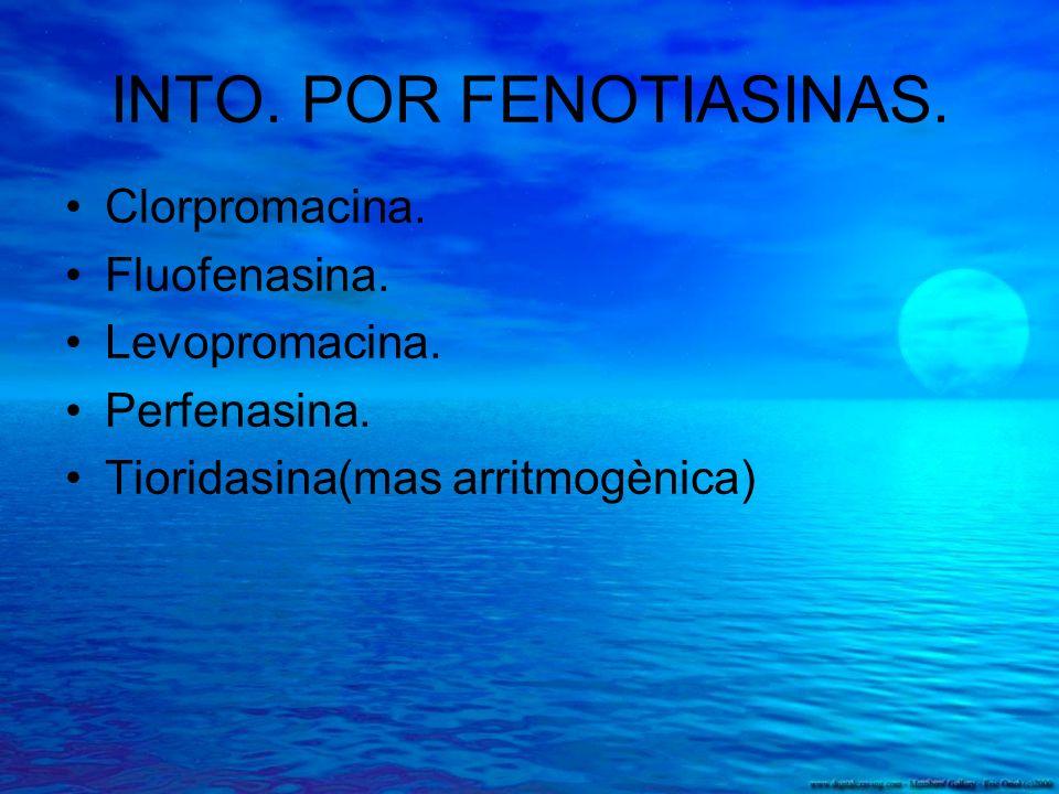 INTO. POR FENOTIASINAS. Clorpromacina. Fluofenasina. Levopromacina.