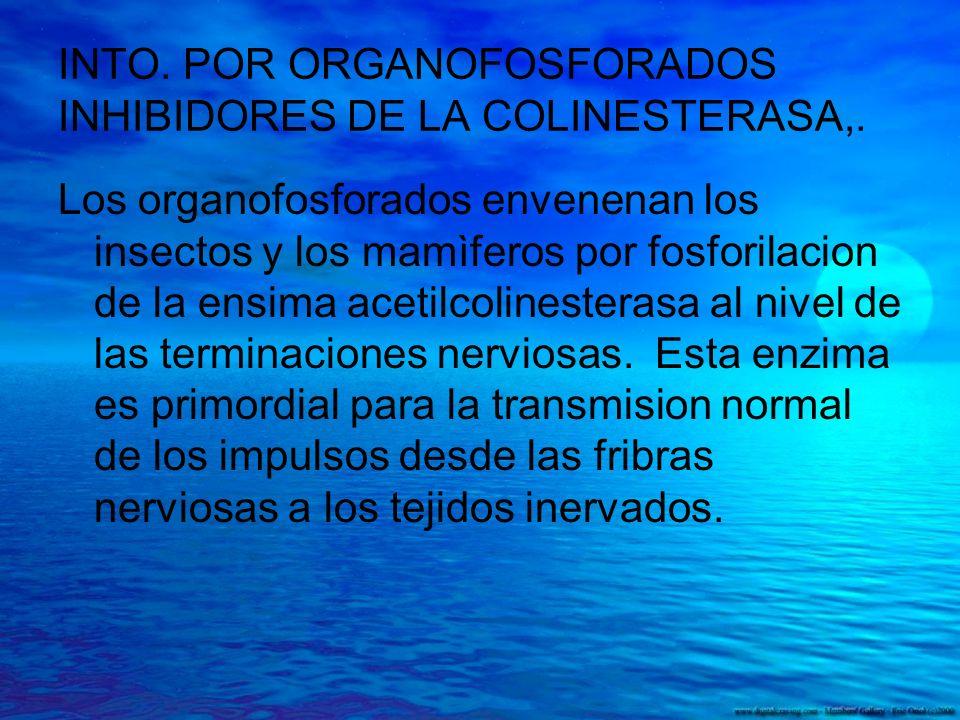 INTO. POR ORGANOFOSFORADOS INHIBIDORES DE LA COLINESTERASA,.