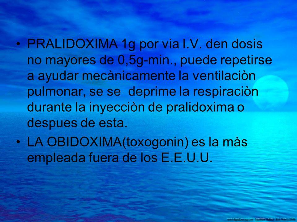 PRALIDOXIMA 1g por via I. V. den dosis no mayores de 0,5g-min