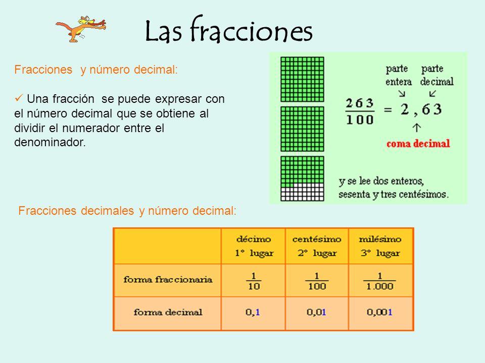 Las fracciones Fracciones y número decimal: