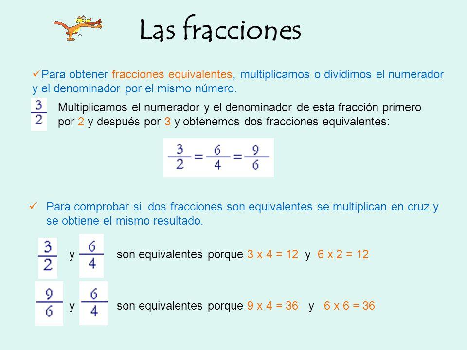 Las fracciones Para obtener fracciones equivalentes, multiplicamos o dividimos el numerador y el denominador por el mismo número.