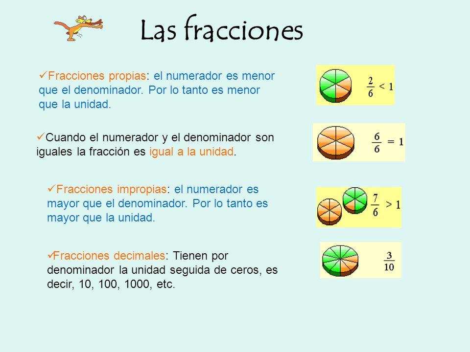 Las fracciones Fracciones propias: el numerador es menor que el denominador. Por lo tanto es menor que la unidad.
