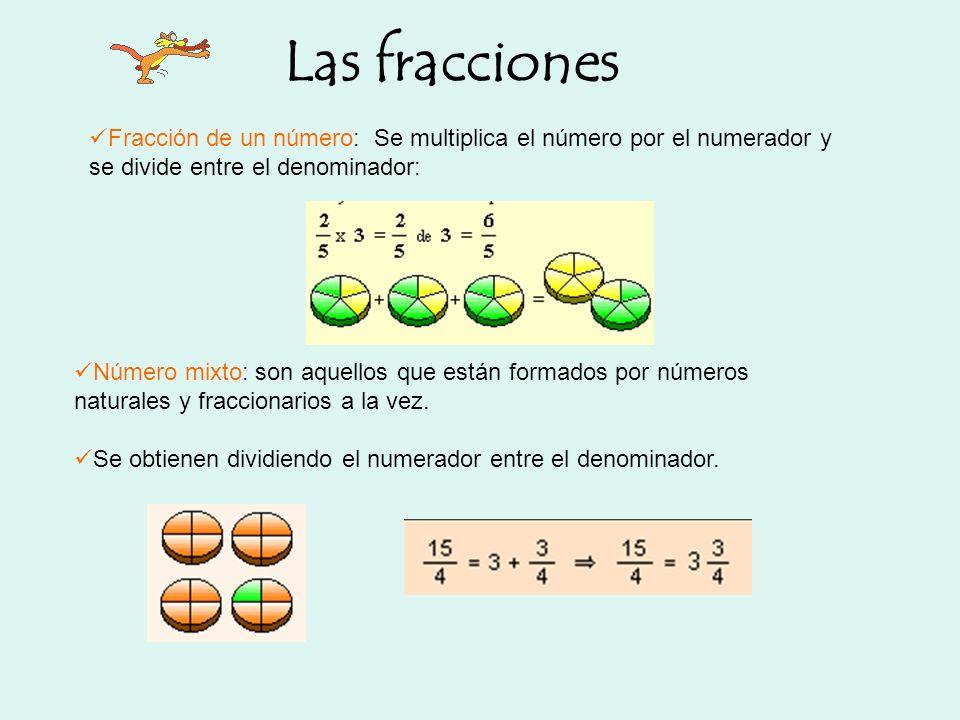Las fracciones Fracción de un número: Se multiplica el número por el numerador y se divide entre el denominador: