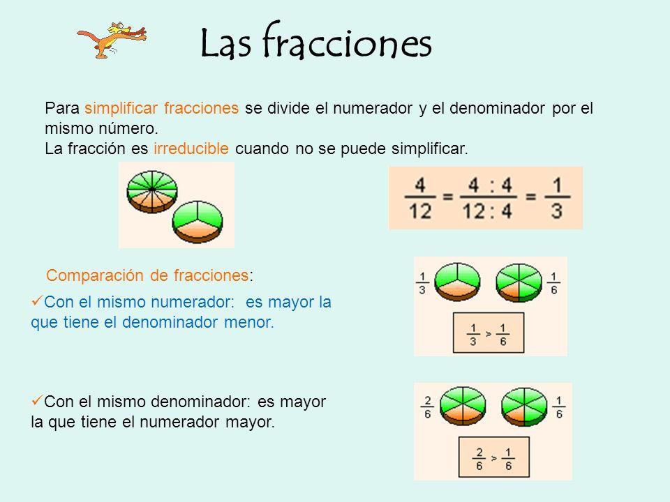 Las fracciones Para simplificar fracciones se divide el numerador y el denominador por el mismo número.