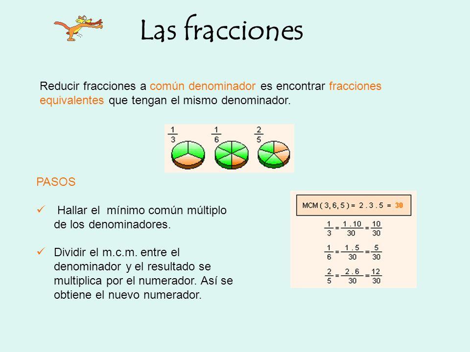 Las fracciones Reducir fracciones a común denominador es encontrar fracciones equivalentes que tengan el mismo denominador.