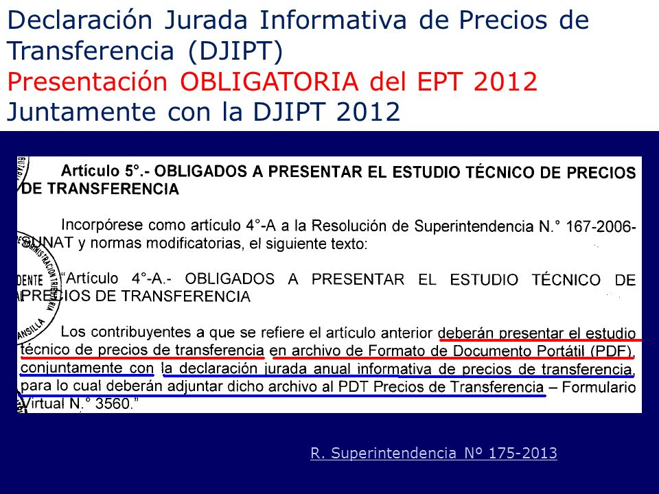 Declaración Jurada Informativa de Precios de Transferencia (DJIPT)