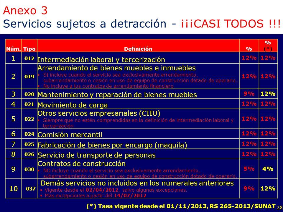 Servicios sujetos a detracción - ¡¡¡CASI TODOS !!!