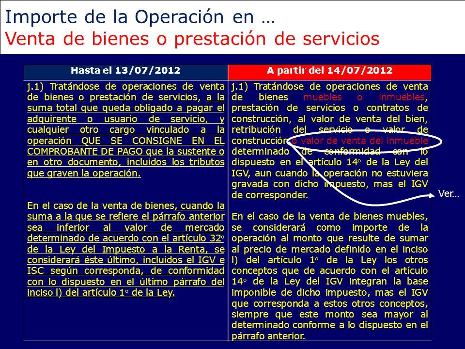 Importe de la Operación en … Venta de bienes o prestación de servicios