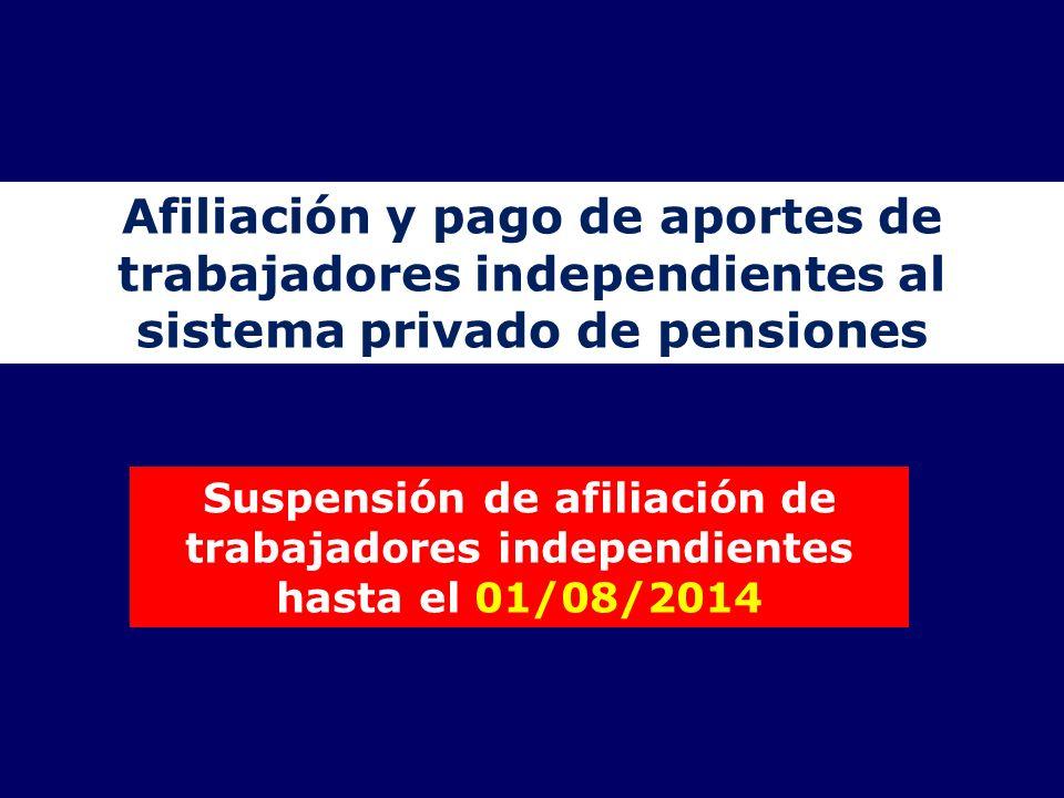 Afiliación y pago de aportes de trabajadores independientes al sistema privado de pensiones