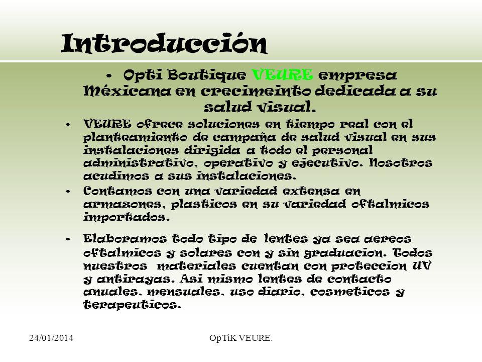 IntroducciónOpti Boutique VEURE empresa Méxicana en crecimeinto dedicada a su salud visual.