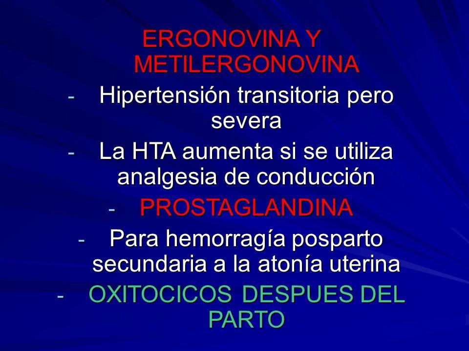 ERGONOVINA Y METILERGONOVINA Hipertensión transitoria pero severa