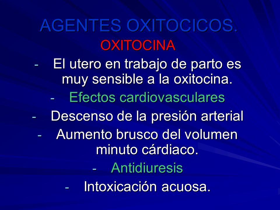 AGENTES OXITOCICOS. OXITOCINA