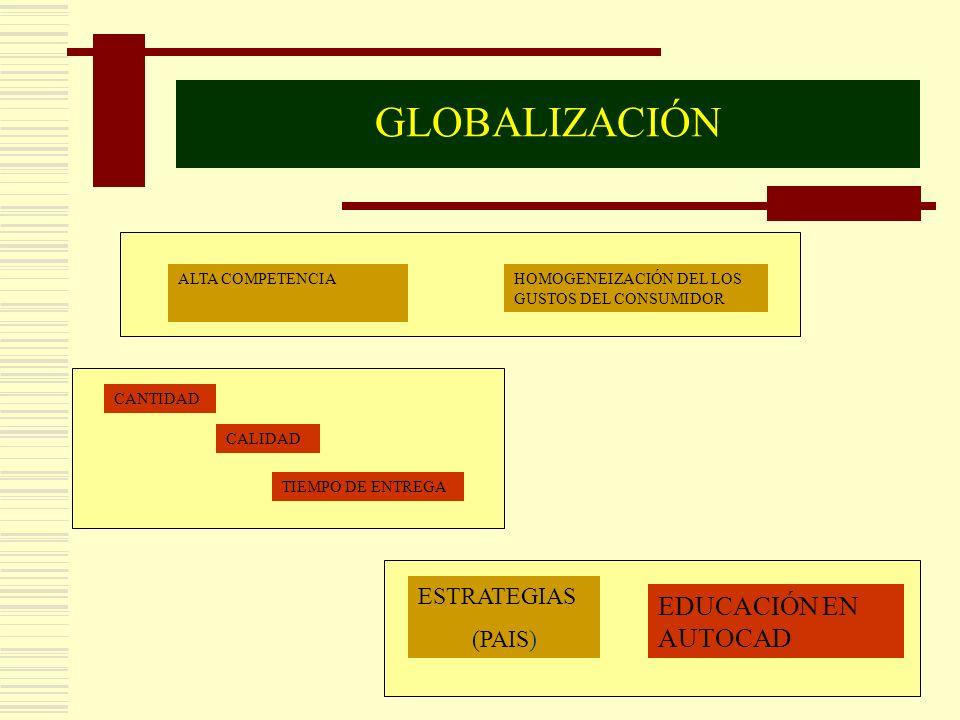 GLOBALIZACIÓN EDUCACIÓN EN AUTOCAD ESTRATEGIAS (PAIS) ALTA COMPETENCIA