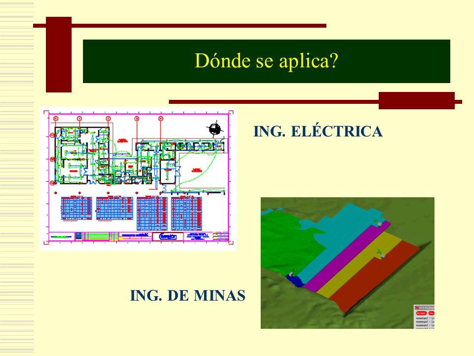 Dónde se aplica ING. ELÉCTRICA ING. DE MINAS