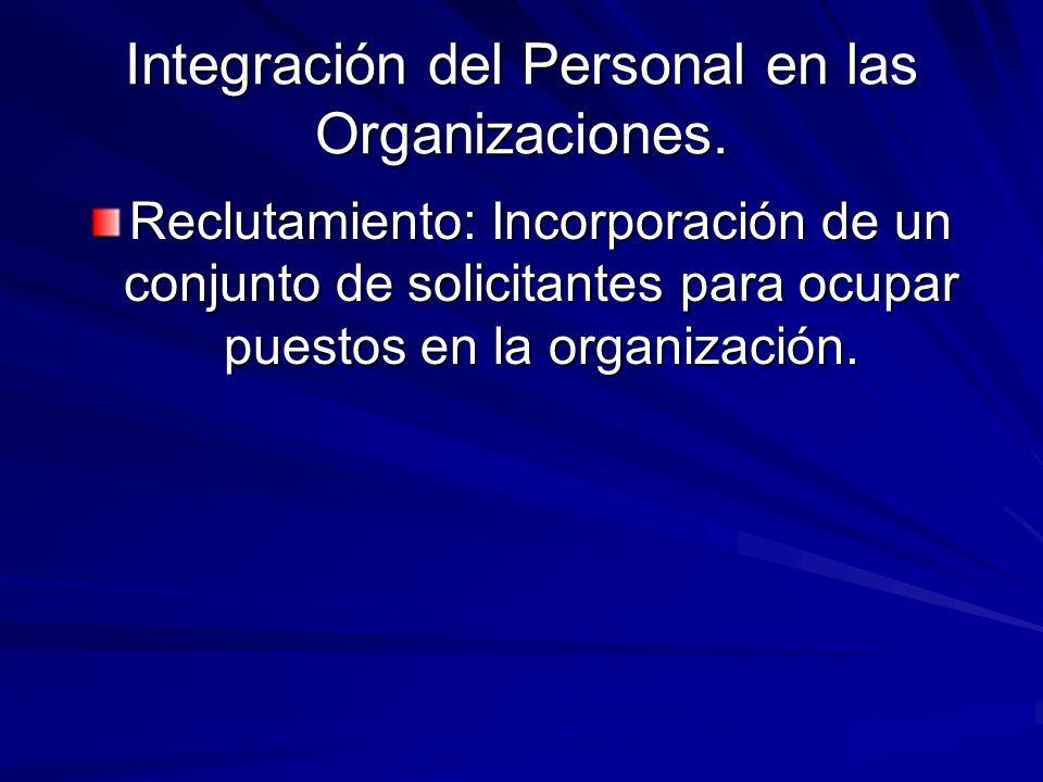 Integración del Personal en las Organizaciones.