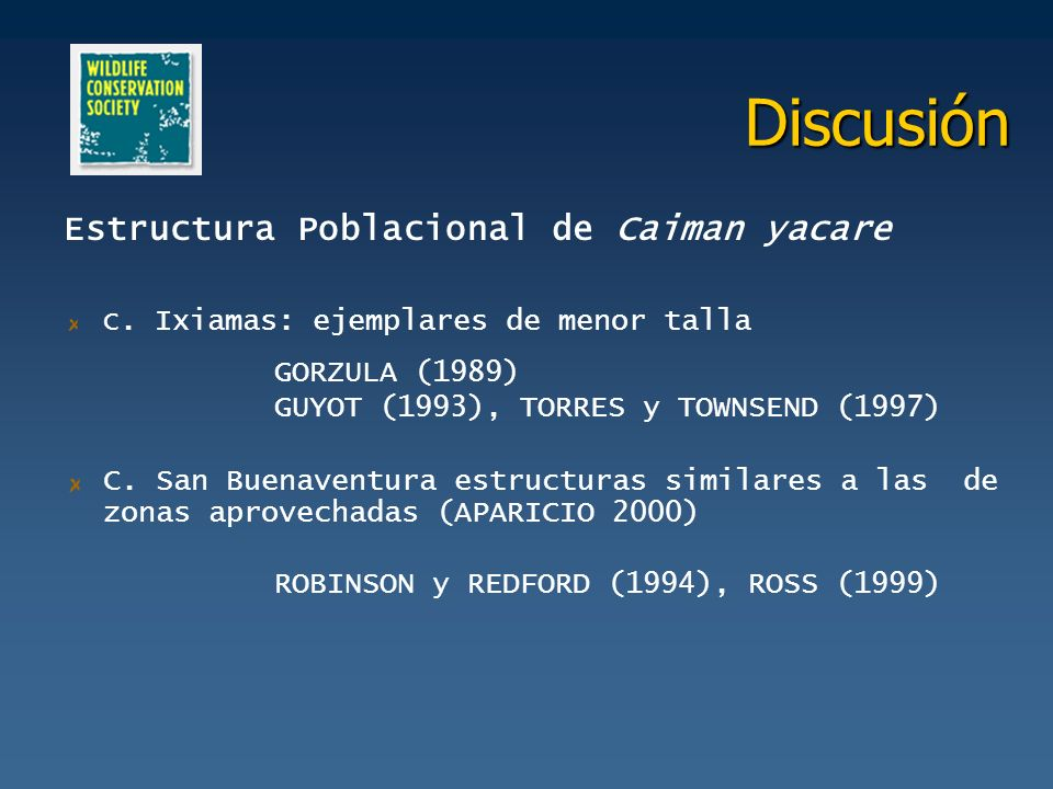 Discusión Estructura Poblacional de Caiman yacare GORZULA (1989)