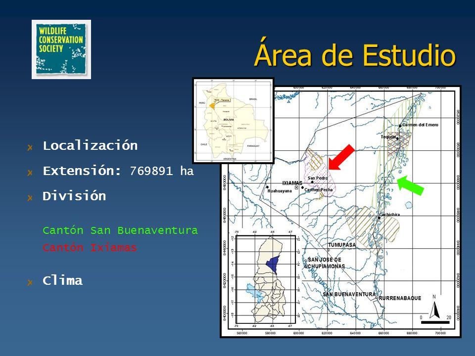 Área de Estudio Localización Extensión: 769891 ha División Clima