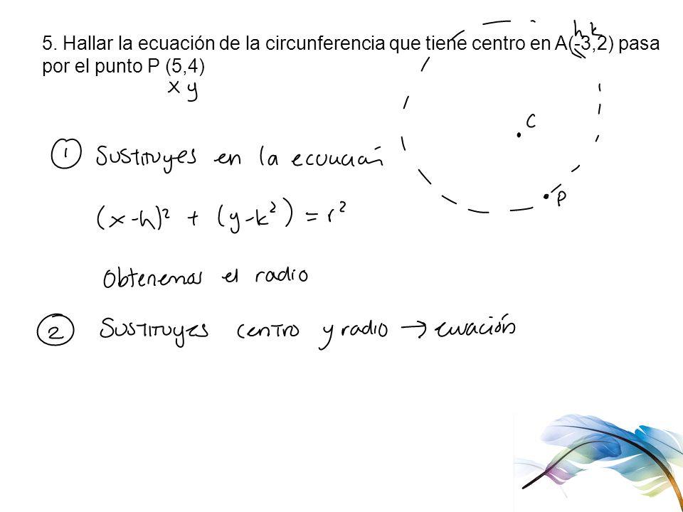 5. Hallar la ecuación de la circunferencia que tiene centro en A(-3,2) pasa
