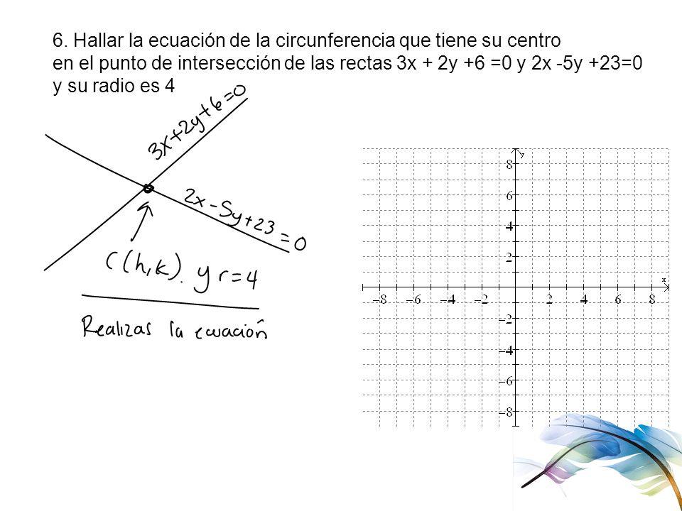 6. Hallar la ecuación de la circunferencia que tiene su centro