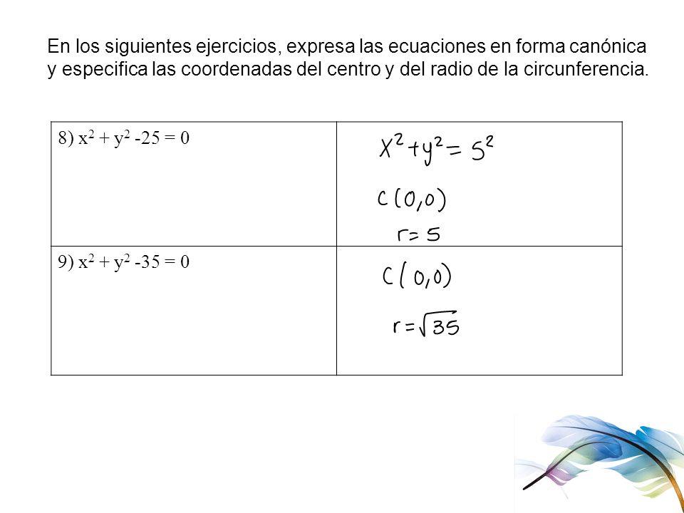 En los siguientes ejercicios, expresa las ecuaciones en forma canónica
