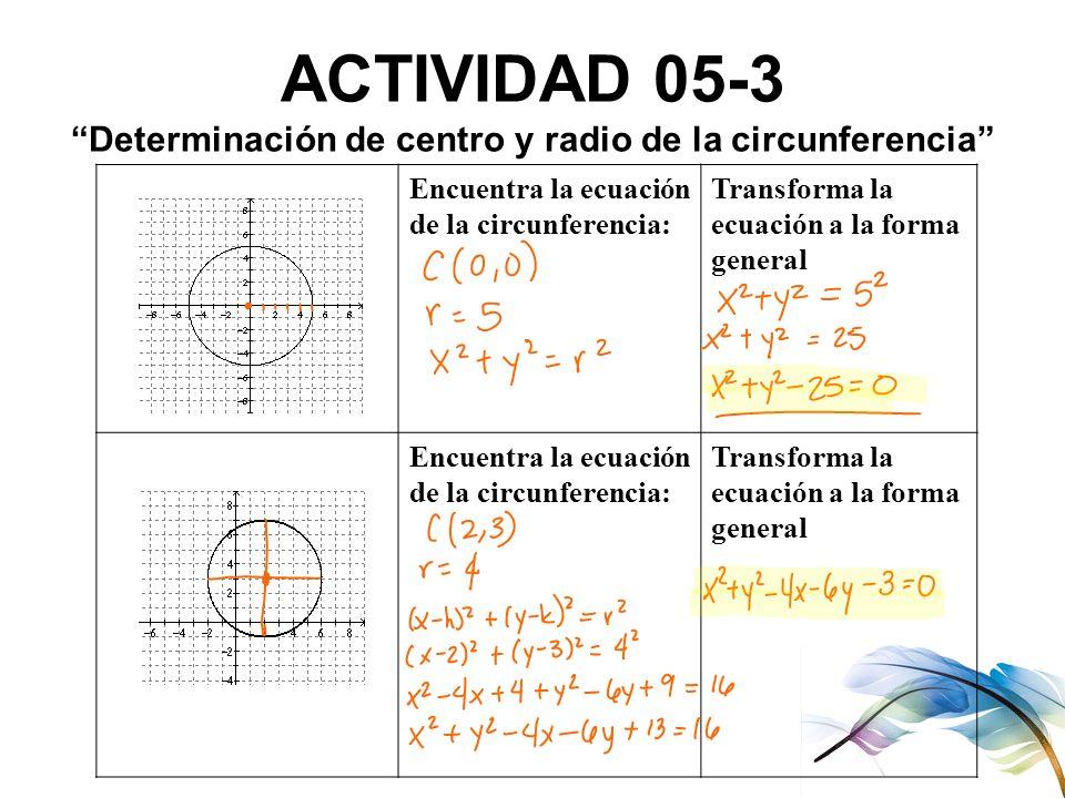 ACTIVIDAD 05-3 Determinación de centro y radio de la circunferencia