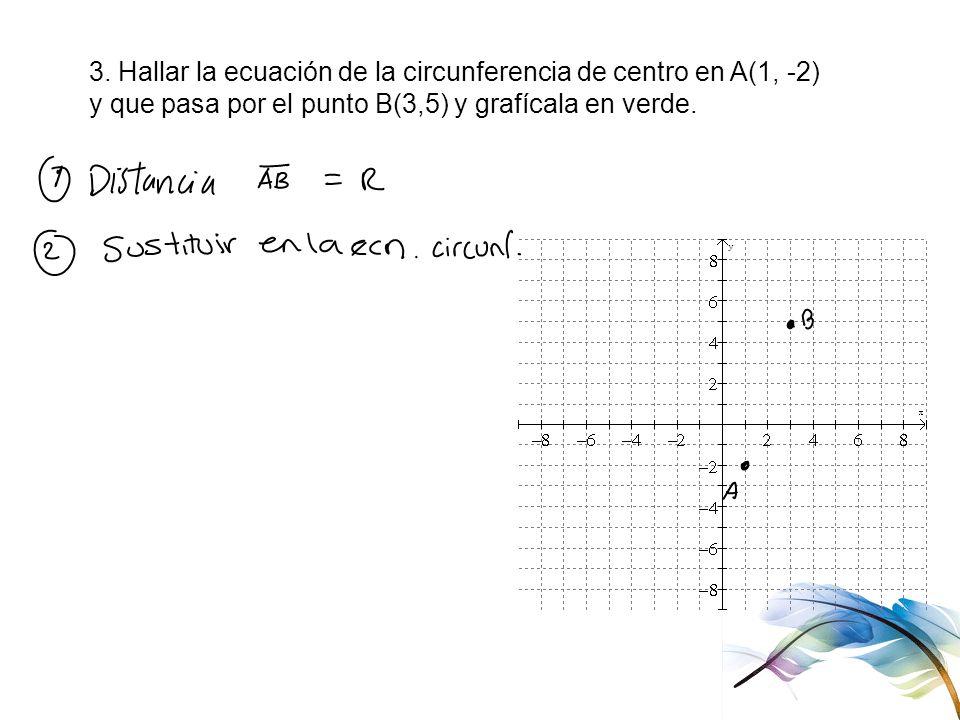3. Hallar la ecuación de la circunferencia de centro en A(1, -2)