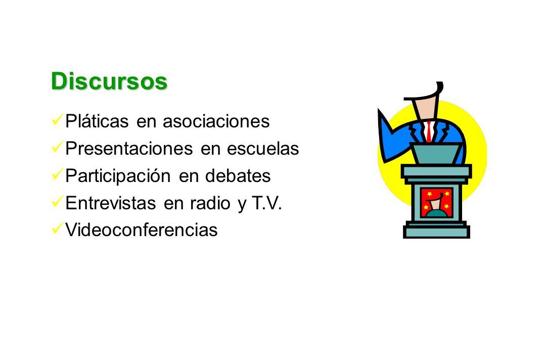 Discursos Pláticas en asociaciones Presentaciones en escuelas