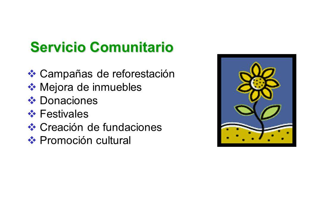 Servicio Comunitario Campañas de reforestación Mejora de inmuebles