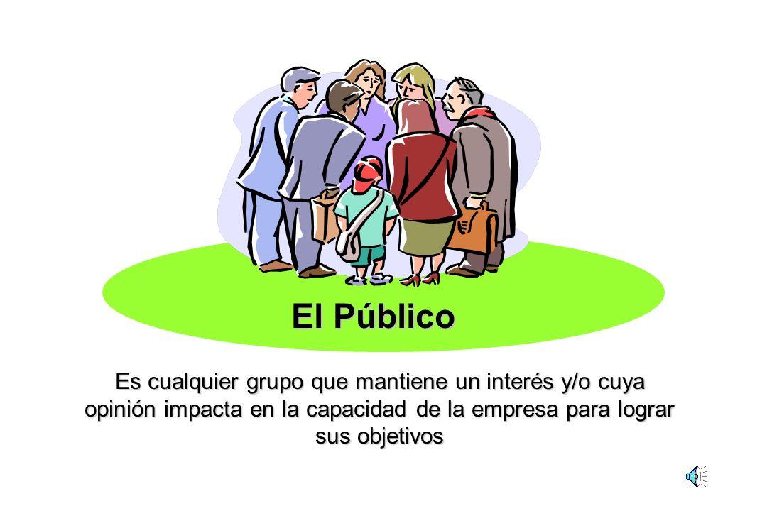 El Público Es cualquier grupo que mantiene un interés y/o cuya opinión impacta en la capacidad de la empresa para lograr sus objetivos.