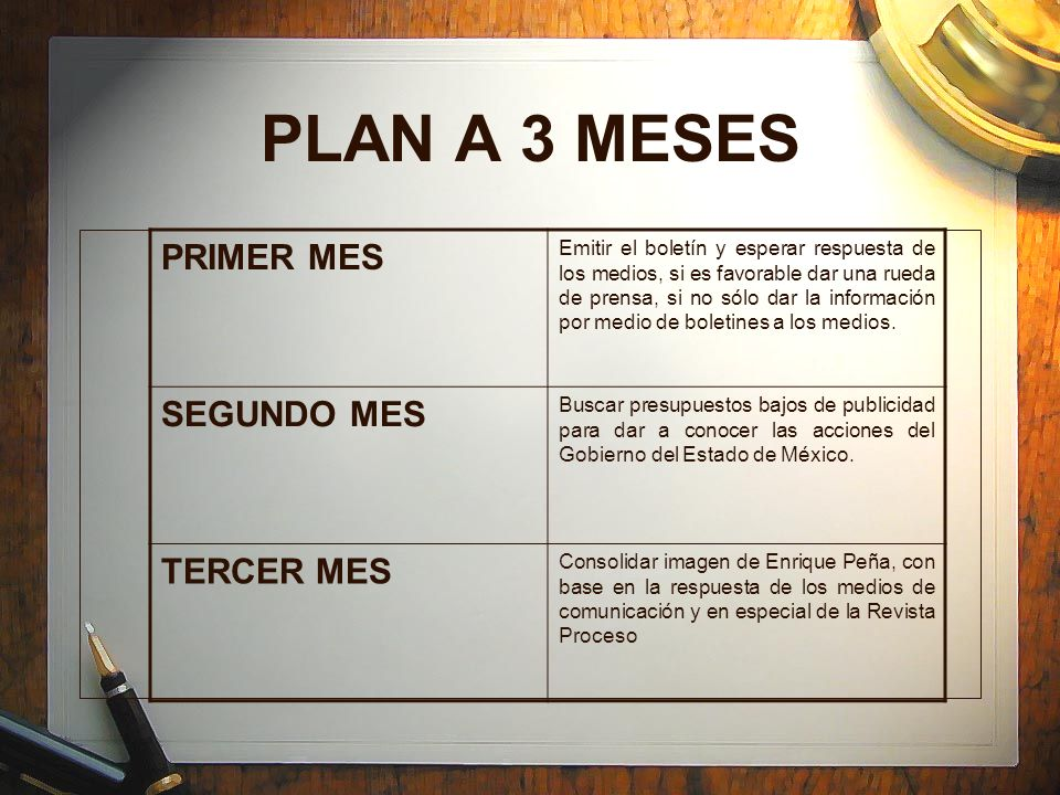 PLAN A 3 MESES PRIMER MES SEGUNDO MES TERCER MES