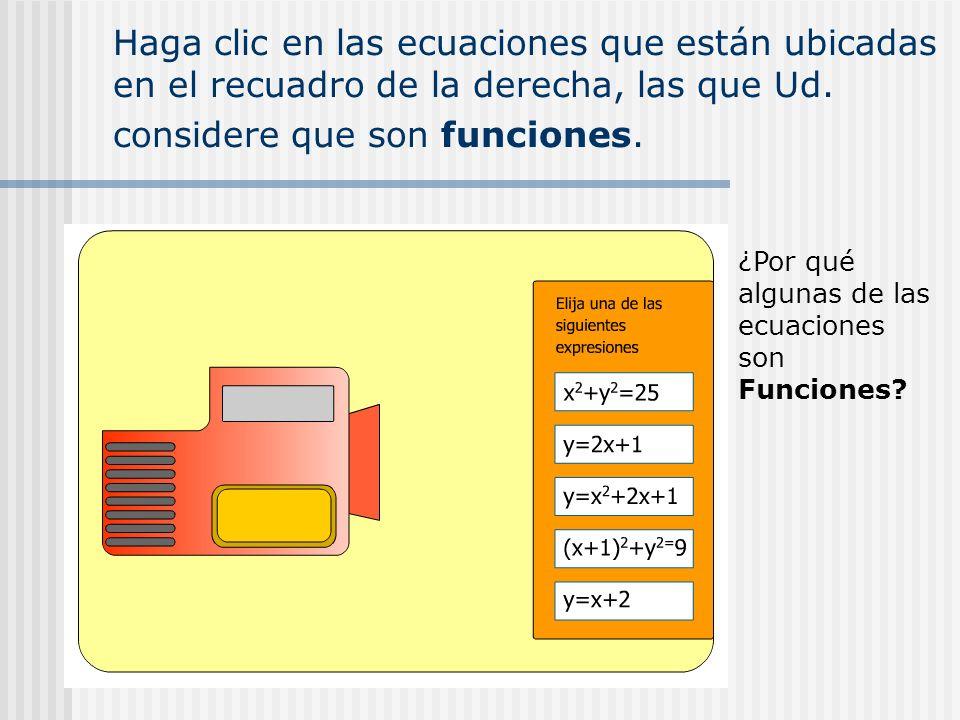 Haga clic en las ecuaciones que están ubicadas en el recuadro de la derecha, las que Ud. considere que son funciones.