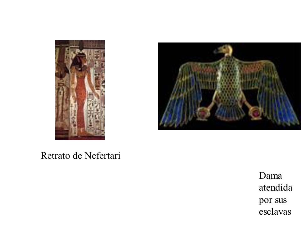 Retrato de Nefertari Dama atendida por sus esclavas