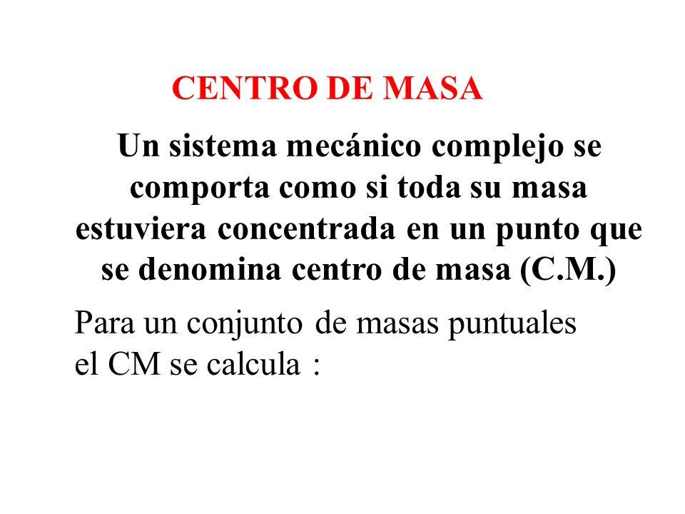se denomina centro de masa (C.M.)