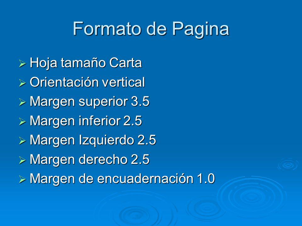 Formato de Pagina Hoja tamaño Carta Orientación vertical