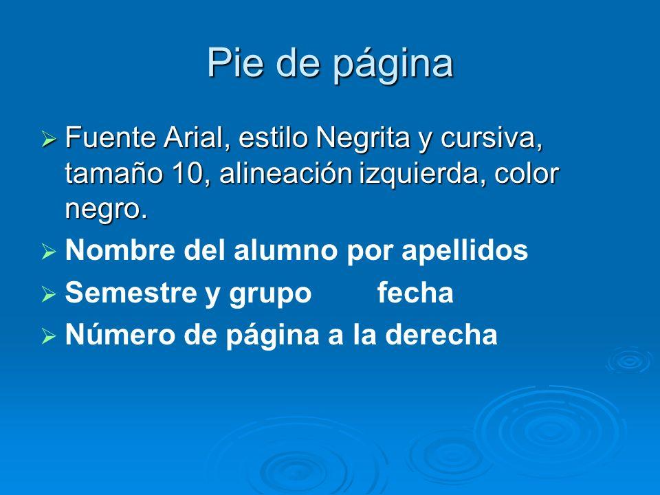 Pie de página Fuente Arial, estilo Negrita y cursiva, tamaño 10, alineación izquierda, color negro.