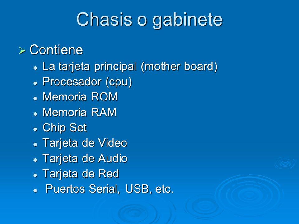 Chasis o gabinete Contiene La tarjeta principal (mother board)