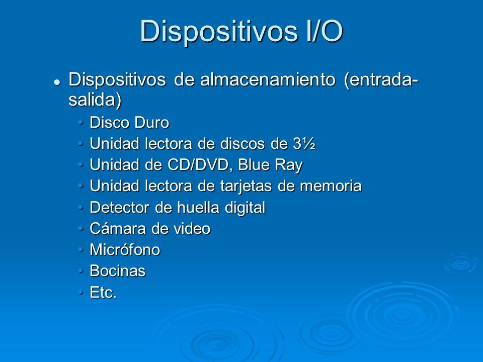 Dispositivos I/O Dispositivos de almacenamiento (entrada-salida)