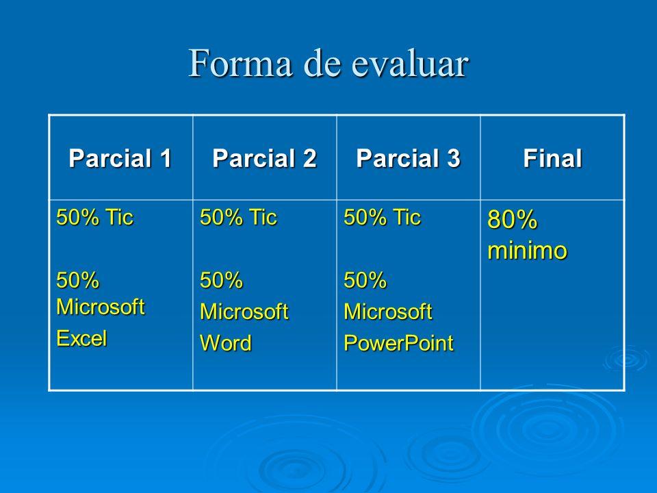 Forma de evaluar Parcial 1 Parcial 2 Parcial 3 Final 80% minimo