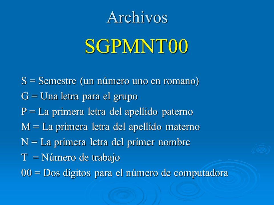 SGPMNT00 Archivos S = Semestre (un número uno en romano)