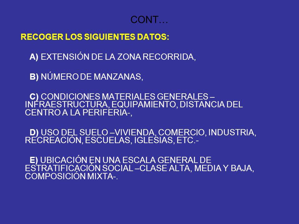 CONT… RECOGER LOS SIGUIENTES DATOS: A) EXTENSIÓN DE LA ZONA RECORRIDA,