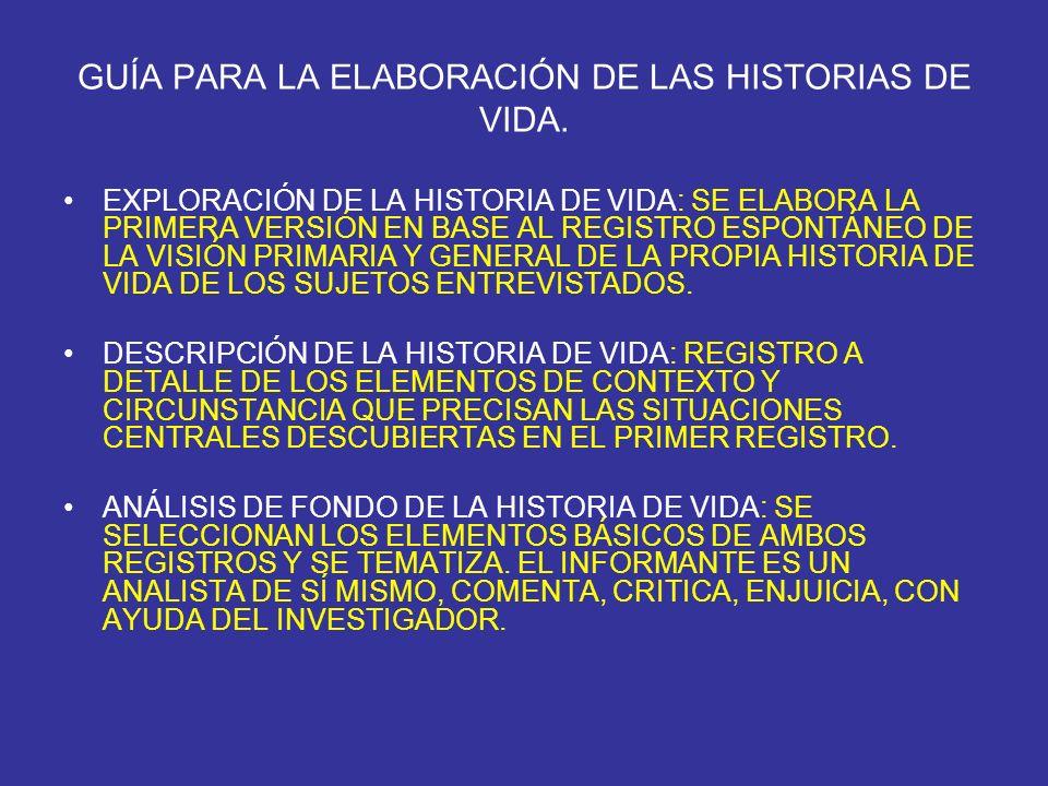 GUÍA PARA LA ELABORACIÓN DE LAS HISTORIAS DE VIDA.
