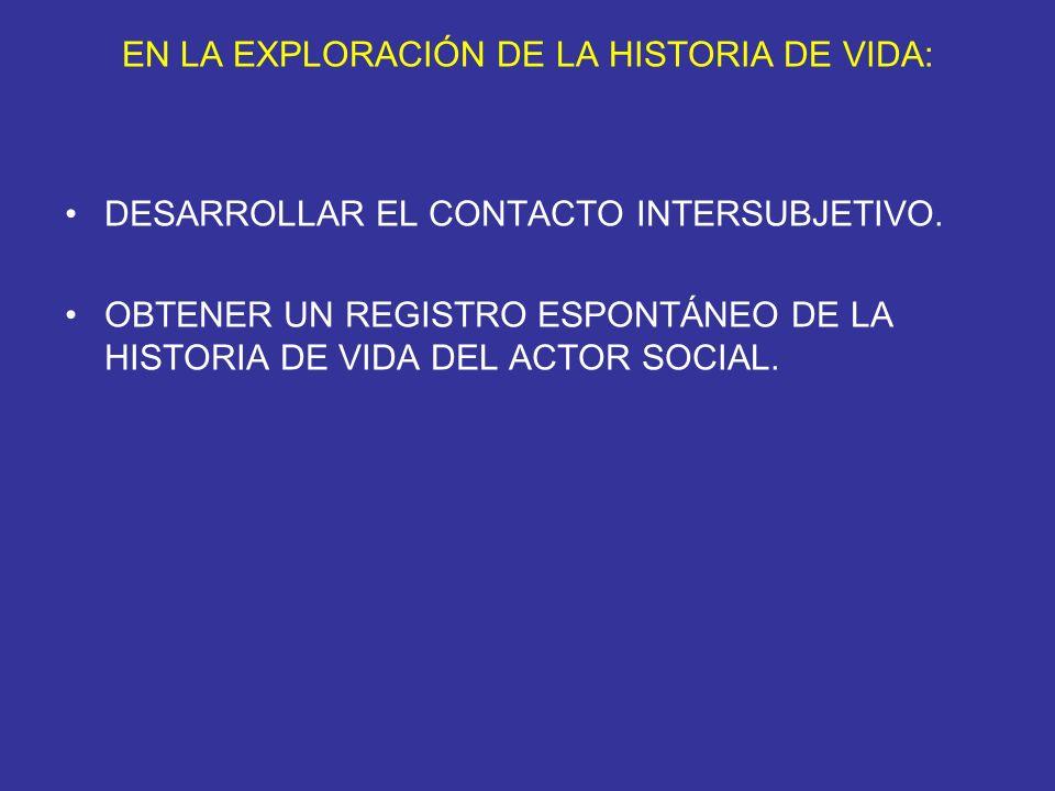 EN LA EXPLORACIÓN DE LA HISTORIA DE VIDA: