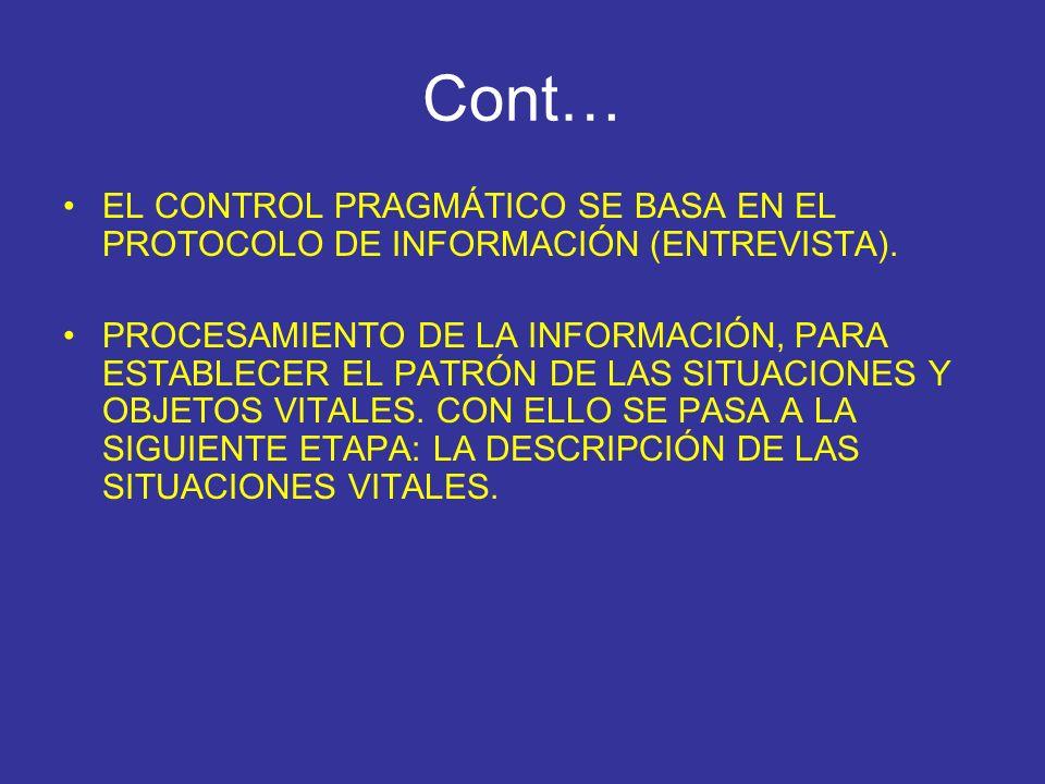Cont… EL CONTROL PRAGMÁTICO SE BASA EN EL PROTOCOLO DE INFORMACIÓN (ENTREVISTA).