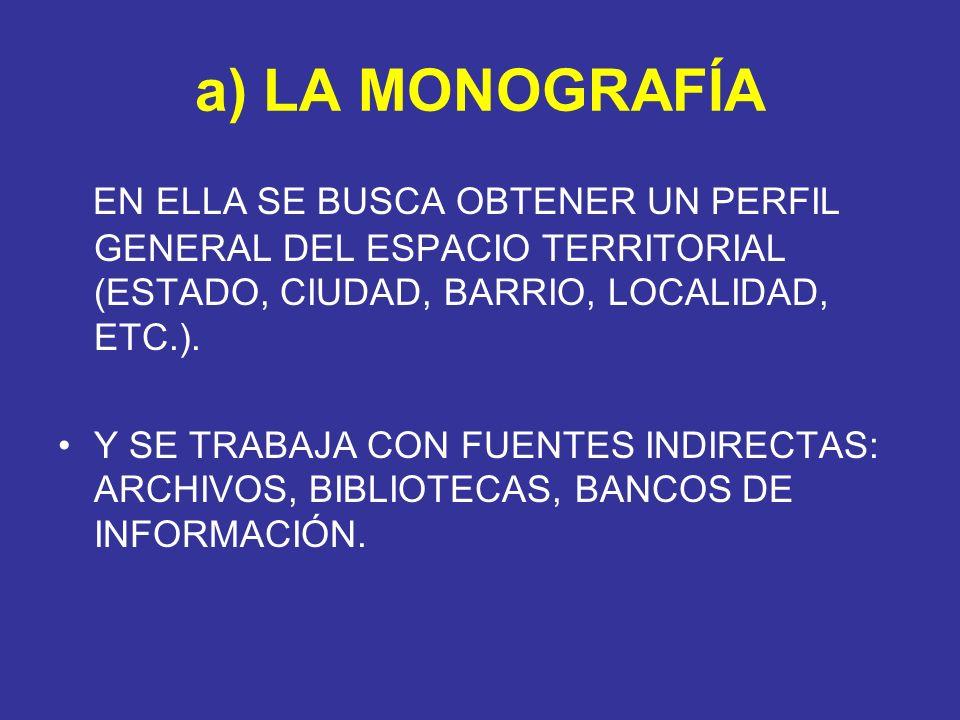 a) LA MONOGRAFÍA EN ELLA SE BUSCA OBTENER UN PERFIL GENERAL DEL ESPACIO TERRITORIAL (ESTADO, CIUDAD, BARRIO, LOCALIDAD, ETC.).