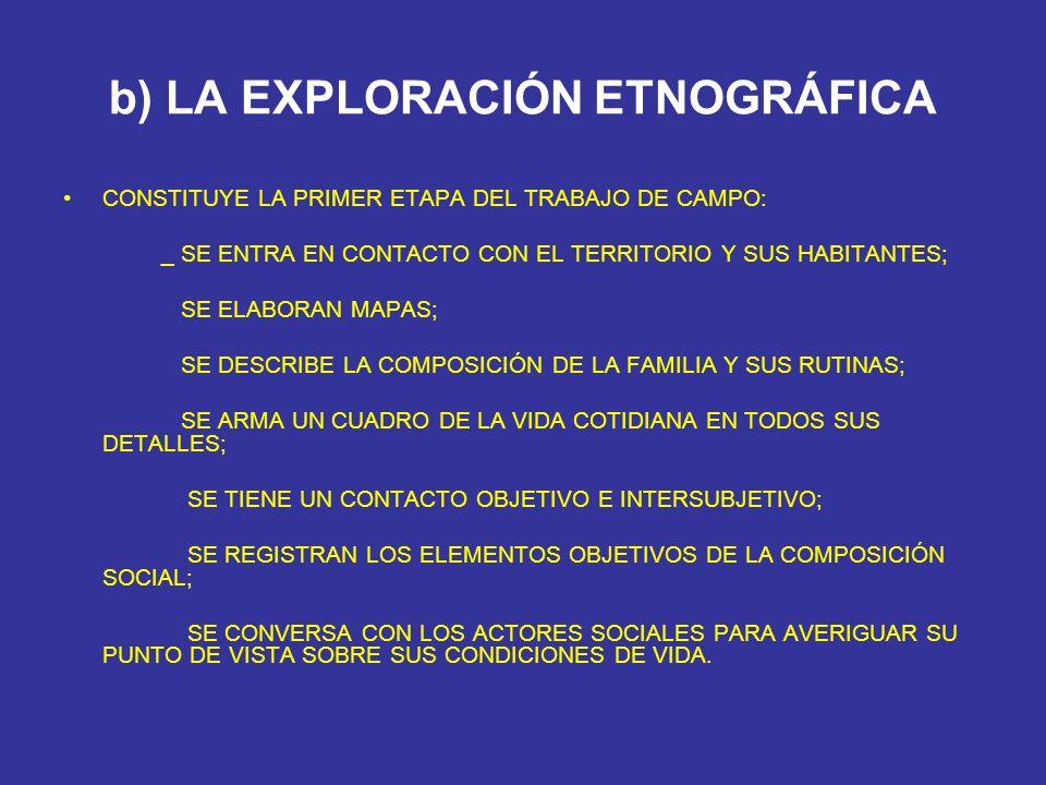 b) LA EXPLORACIÓN ETNOGRÁFICA